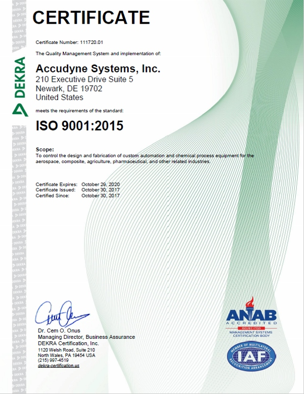 Accudyne Systems celebrates ISO9001:2015 Certification !